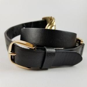 Accessories - Gold chain accent black belt